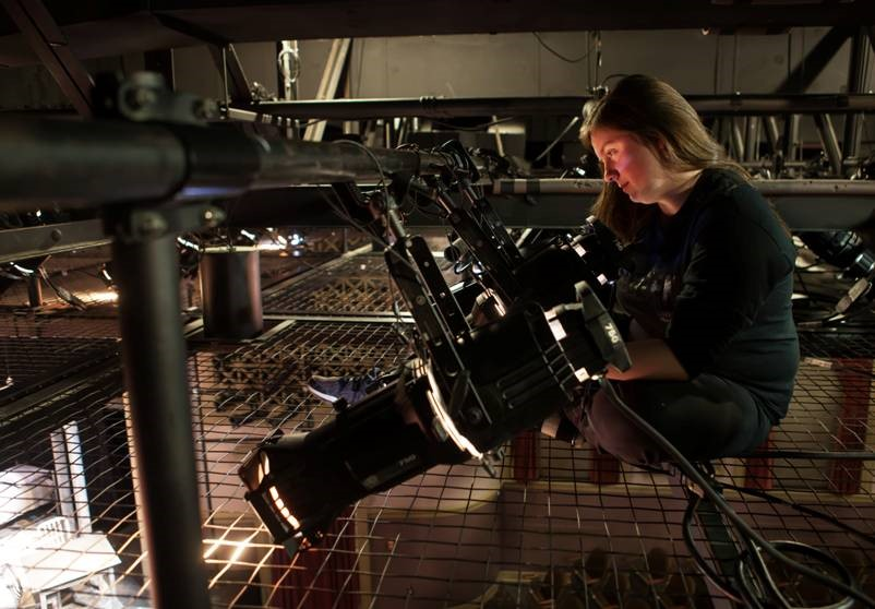 A student focusing a light through the SkyDeck grid at the Klein Theatre at the University of Mary Washington. Photo courtesy of Geoff Greene.