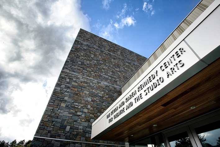 Building for the Kevin & Karen Kennedy Center for Theatre and the Studio Arts at Hamilton College.