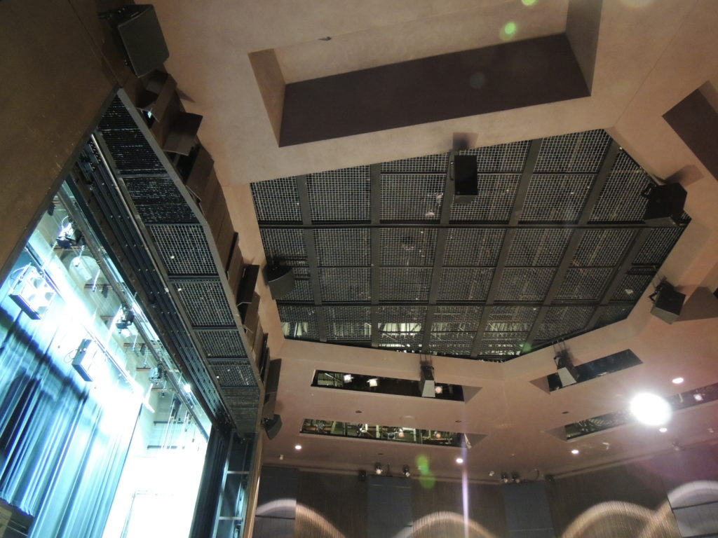 Looking up at the SkyDeck tension wire grid in the Shanklin Theatre.