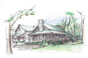 Exterior Sketch of The Castle at Camp Merrie Woode