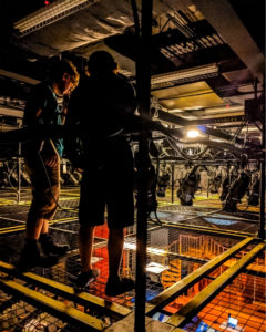 Crew on Northern Stage's SkyDeck tension wire grid at the Byrne Theatre.
