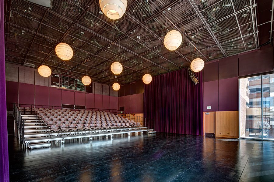 Eccles Theatre with SkyDeck tension wire grid.