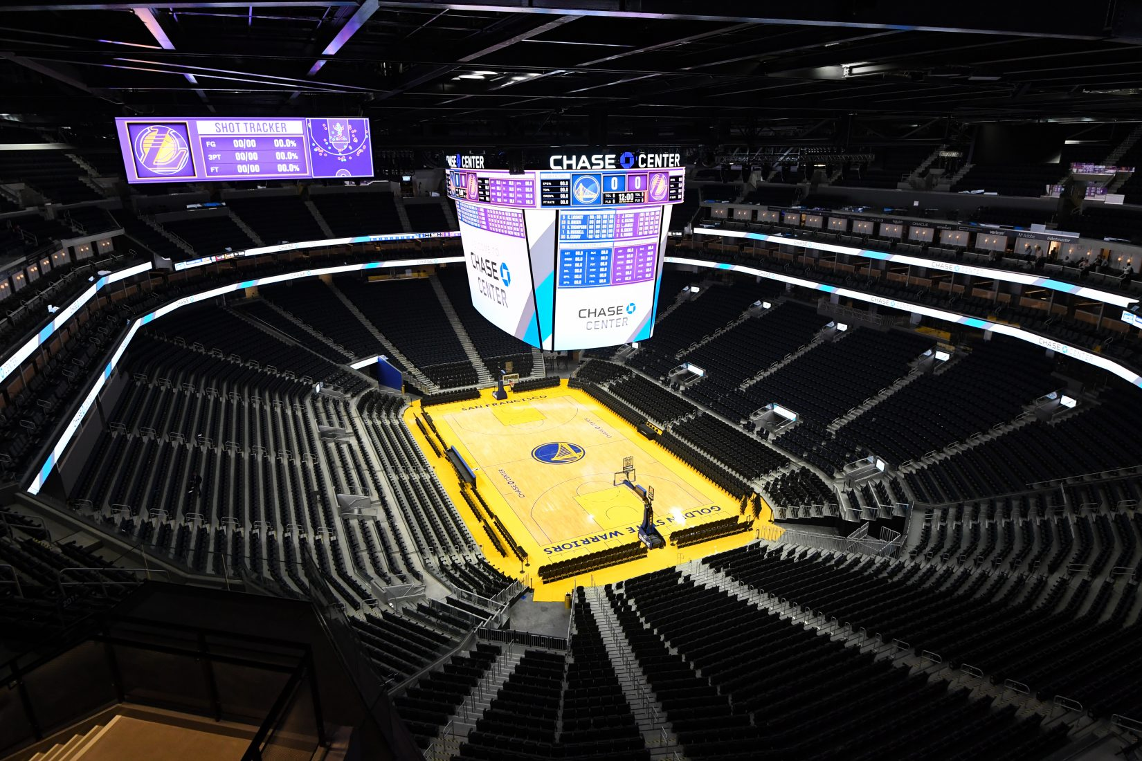 Chase Center's center-hung scoreboard