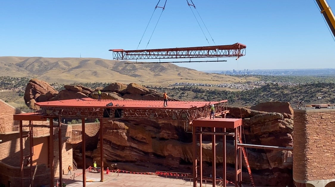 Demolition of the original stage roof at Red Rocks Amphitheatre. Photo courtesy of GH Phipps Construction.