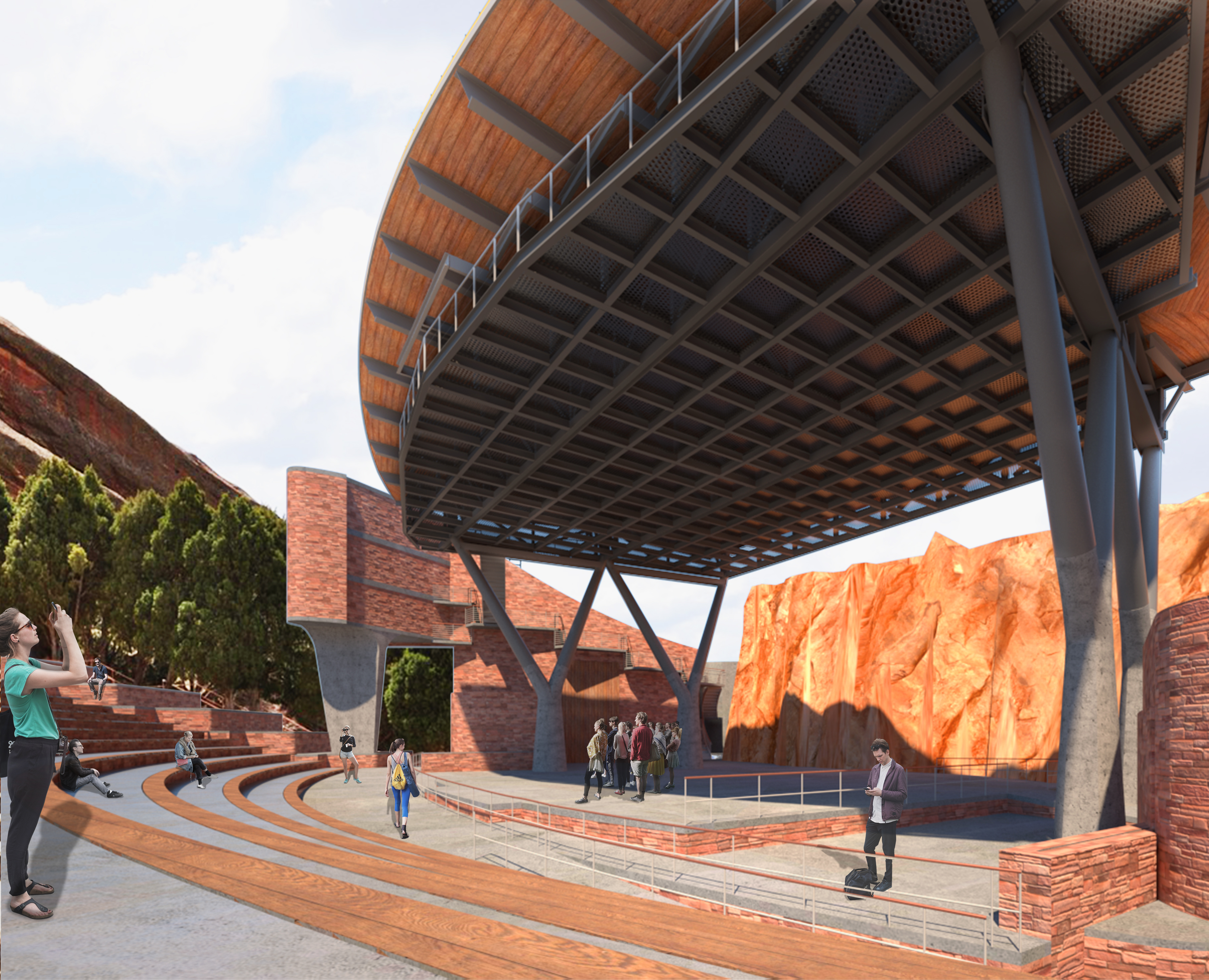 Rendering of Red Rocks Amphitheatre's new stage roof from the audience's point of view. Image courtesy of SEH.