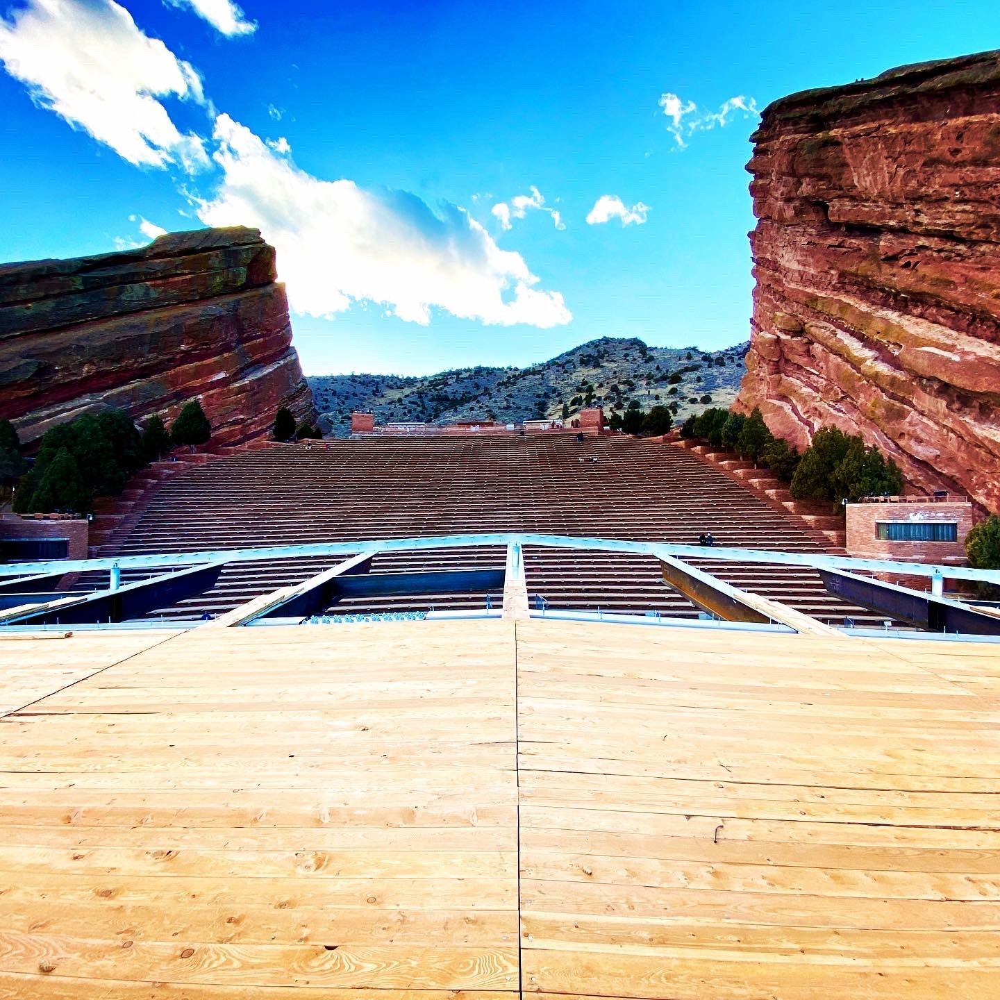 Looking out onto the Red Rocks Amphitheatre from the new stage roof.