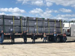 IA Stage shop crew ready to send the truck loaded with Dollar Loan Center's SkyDeck tension wire grid to Nevada.