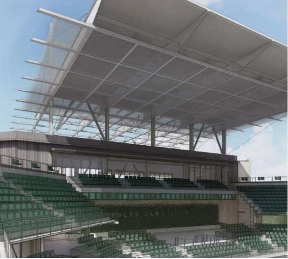 Rendering of the SkyDeck Canopy at Credit One Stadium from Choate Construction