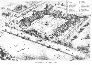 The original design for the quad at the heart of St Edward's School in Oxford, drawn up 140 years ago by then headmaster Algernon Barrington Simeon and Randolph Hotel architect William Wilkinson.