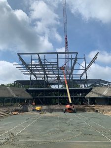 View of the SkyDeck canopy from inside Credit One Stadium, courtesy of Choate Construction.